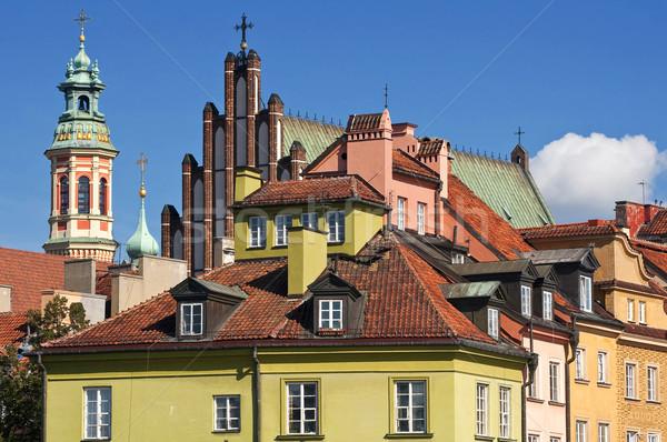 Varsó óváros házak templomok Lengyelország templom Stock fotó © FER737NG