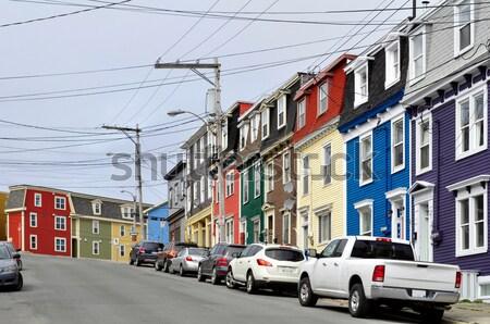 Szent Újfundland csetepaté színes házak város Stock fotó © FER737NG