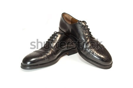 Fekete bőr cipők magas döntés fotó Stock fotó © FER737NG