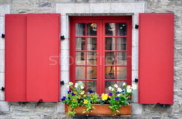 Oude venster kleurrijk bloemen steen kleur Stockfoto © FER737NG