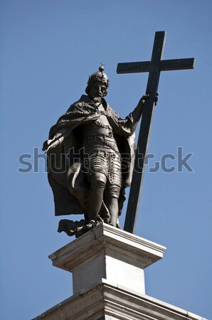 Standbeeld top kolom Warschau Polen zwaard Stockfoto © FER737NG