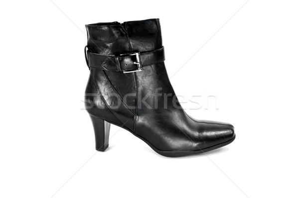 Csizma fekete izolált fehér bőr cipő Stock fotó © FER737NG