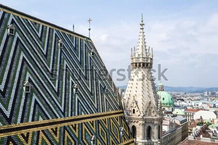 Katedrális Bécs torony tető város kereszt Stock fotó © FER737NG