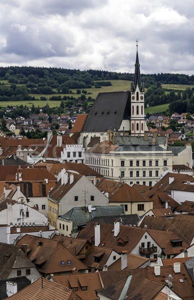 Középkori város Csehország ház templom torony Stock fotó © FER737NG