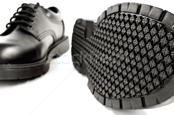 Fekete bőr cipők útvonal részlet textúra Stock fotó © FER737NG