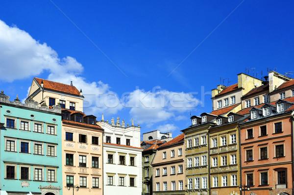 Varsó óváros házak Lengyelország ház város Stock fotó © FER737NG