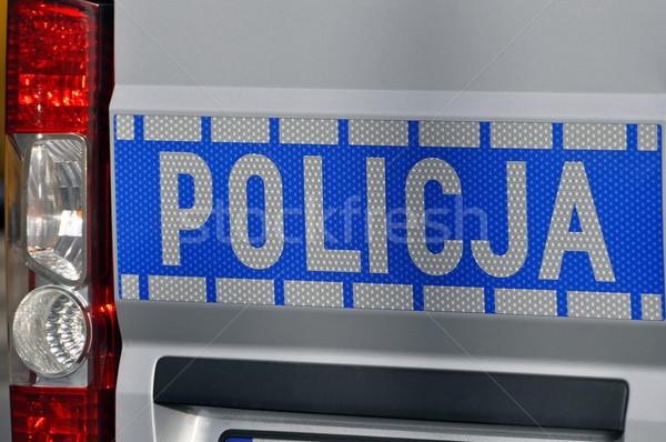 Politie auto teken Warschau veiligheid Stockfoto © FER737NG
