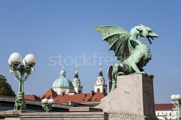 Sárkány híd katedrális templom Európa szárny Stock fotó © FER737NG