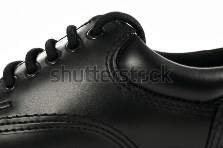 Fekete bőr cipő részletes magas döntés Stock fotó © FER737NG