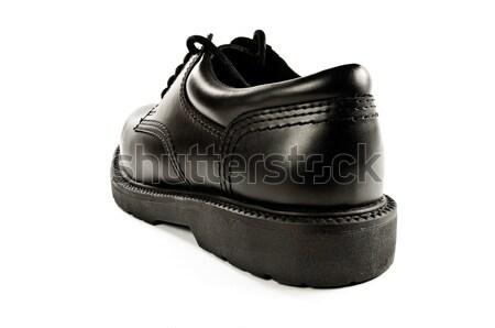 Fekete bőr cipő hátulnézet izolált hát Stock fotó © FER737NG