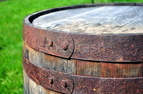 öreg rozsdás hordó részlet fém fa Stock fotó © FER737NG