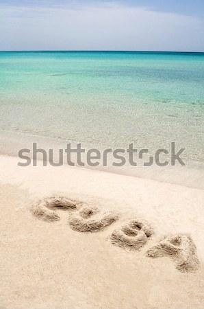 Kubai tengerpart Kuba szó írott homokos tengerpart Stock fotó © FER737NG