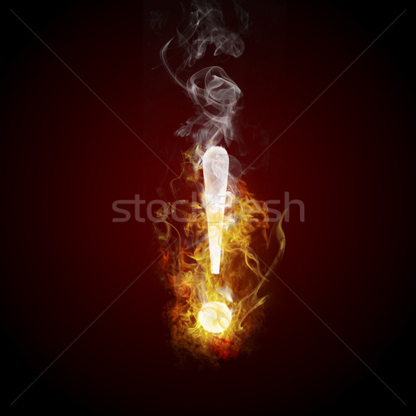 Symbole brûlant feu design signe sombre Photo stock © Fernando_Cortes