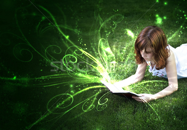 Stock photo: The pleasure of reading, a world of fantasy and imagination.