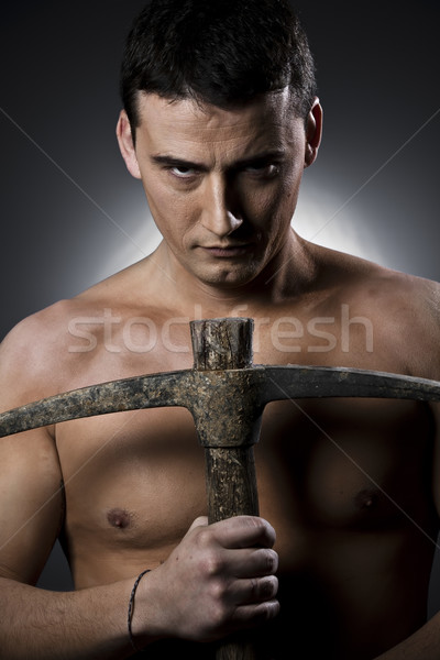 Trabalhador machado topless cinza homem Foto stock © Fernando_Cortes