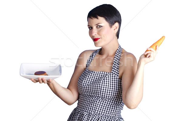 Havuç beyaz güzel bir kadın diyet Stok fotoğraf © Fernando_Cortes