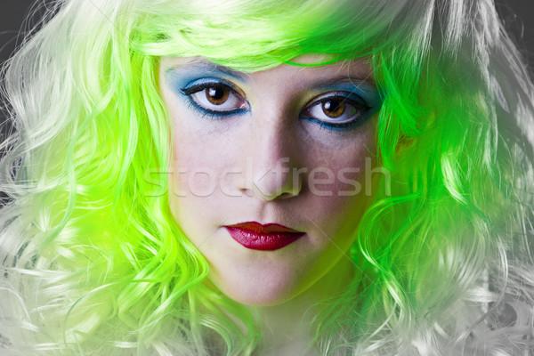 Ciddi yeşil peri kız yüz ışık Stok fotoğraf © Fernando_Cortes