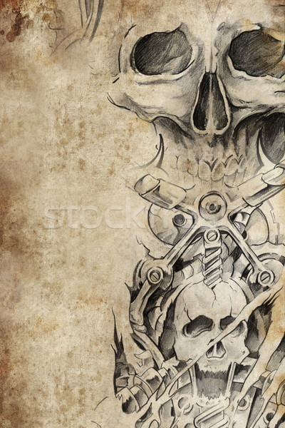 Tattoo pattern with evil designs over antique paper Stock photo © Fernando_Cortes