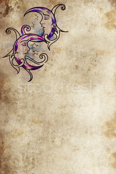 Tatuagem arte desenho papel velho lua sonho Foto stock © Fernando_Cortes