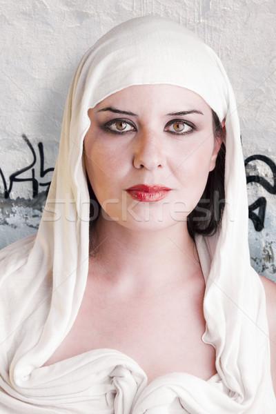 Portre güzel kız beyaz elbise kız kadın Stok fotoğraf © Fernando_Cortes