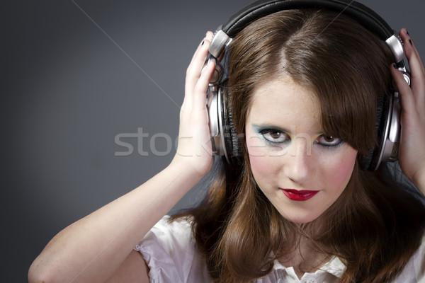 Güzel mutlu kız güzel kız dinleme müzik Stok fotoğraf © Fernando_Cortes