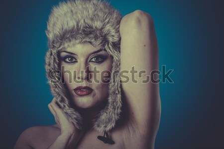 Portre genç kadın kar bakmak güzel Stok fotoğraf © Fernando_Cortes