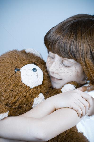 Güzel kız oyuncak ayı kadın göz Stok fotoğraf © Fernando_Cortes