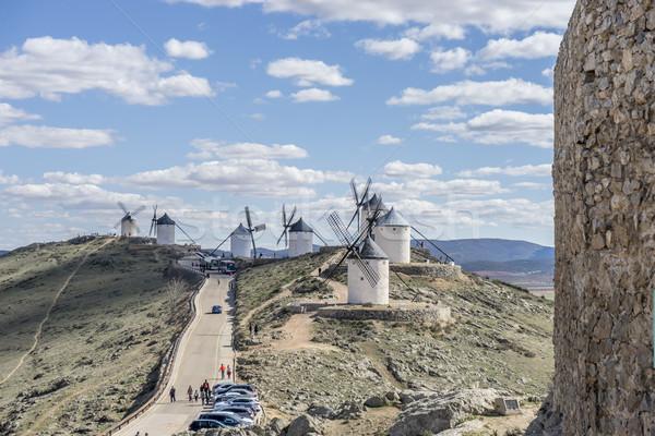 Windmill, medieval castle town of Consuegra in Toledo, Spain Stock photo © Fernando_Cortes