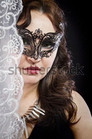 Venetian masca destul de retro fată negru Imagine de stoc © Fernando_Cortes