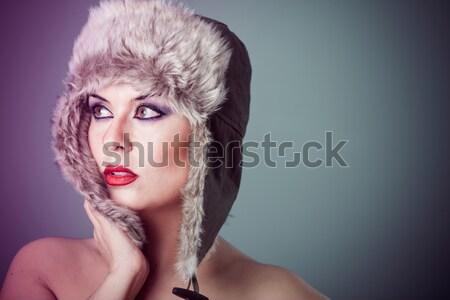 Kış kadın kar portre müzik yüz Stok fotoğraf © Fernando_Cortes