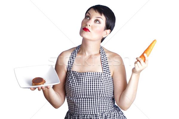 Gyönyörű barna hajú kétség gyönyörű nő kérdő diéta Stock fotó © Fernando_Cortes