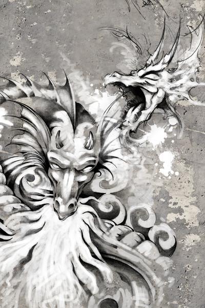 Tattoo art illustration, dragons Stock photo © Fernando_Cortes