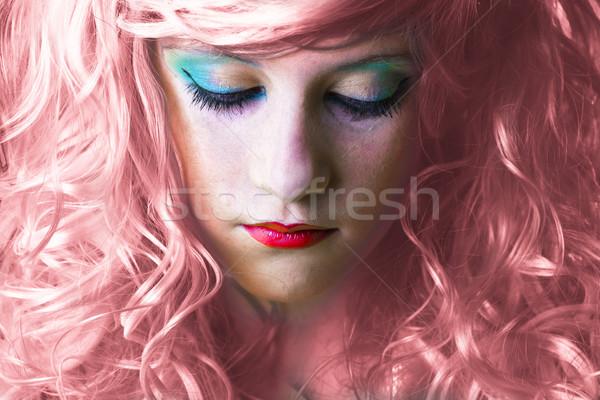 Pembe peri kız üzücü yüz ışık Stok fotoğraf © Fernando_Cortes