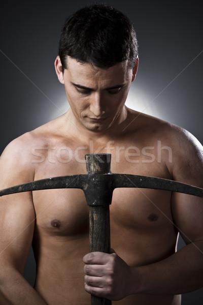 Top-less trabajador de la construcción hacha gris hombre trabajo Foto stock © Fernando_Cortes