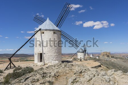 windmills of Consuegra in Toledo City, were used to grind grain  Stock photo © Fernando_Cortes