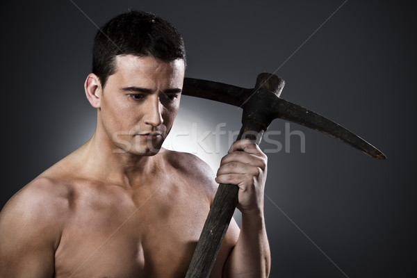 Farmer with pickaxe  Stock photo © Fernando_Cortes