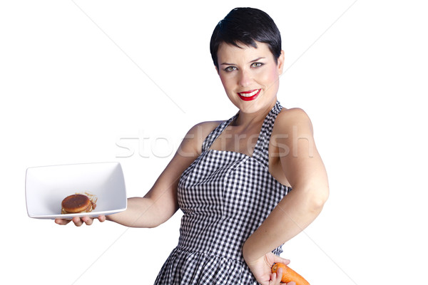 beautiful woman questioning her diet  Stock photo © Fernando_Cortes
