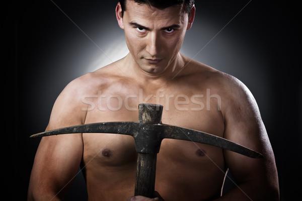 Sério machado cinza topless homem Foto stock © Fernando_Cortes