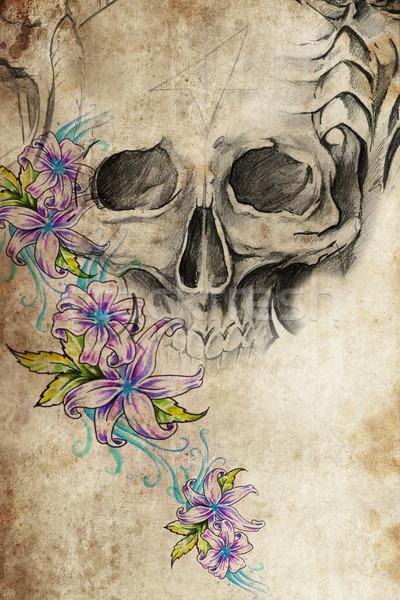 Dövme dizayn kafatası çiçekler bağbozumu kâğıt Stok fotoğraf © Fernando_Cortes
