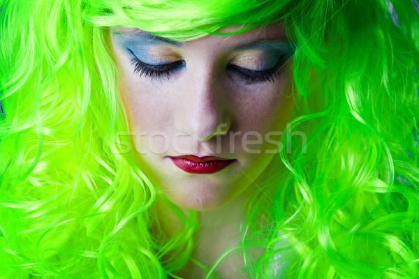 Yeşil peri kız kafa aşağı bakıyor Stok fotoğraf © Fernando_Cortes