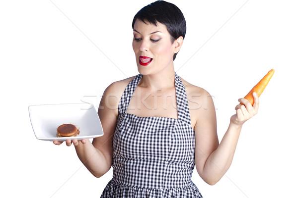 Schöne Frau Zweifel Befragung Ernährung Gesundheit groß Stock foto © Fernando_Cortes