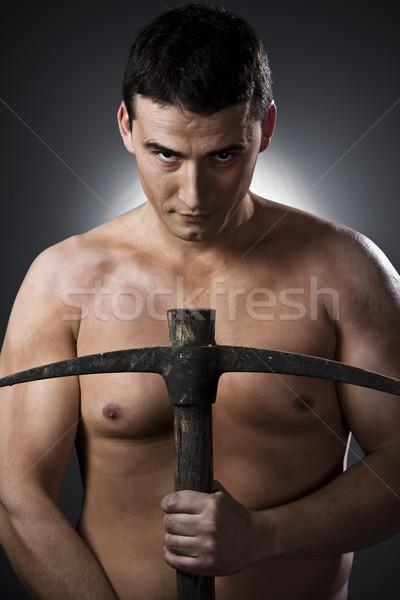 Topless budowy człowiek topór pracownik budowlany szary Zdjęcia stock © Fernando_Cortes