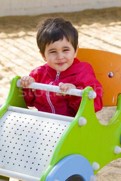 Bebek erkek oynama park küçük araba Stok fotoğraf © Fernando_Cortes