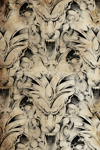 Tattoo pattern with gargoyle designs over antique paper Stock photo © Fernando_Cortes