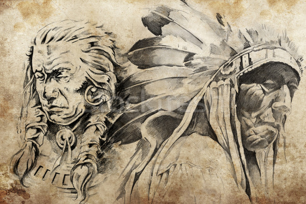 Tattoo sketch of American Indian warriors Stock photo © Fernando_Cortes