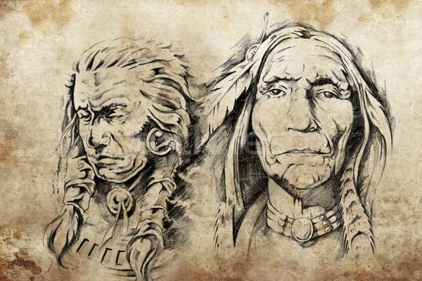 Tatouage croquis indien de l'amérique peinture modèle dessin Photo stock © Fernando_Cortes