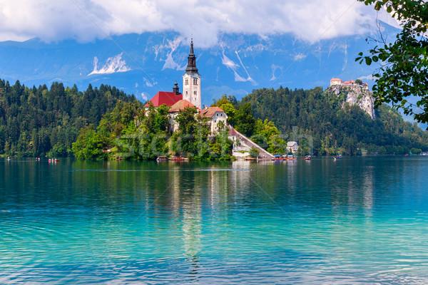 Foto stock: Lago · ilha · montanhas · Eslovenia · europa · céu