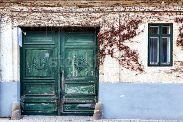 ストックフォト: いい · 入り口 · 家 · 花 · 木材 · 市