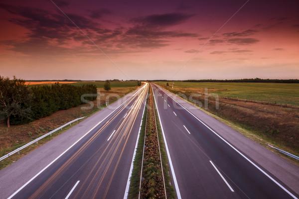 Autók száguld autópálya Magyarország üzlet égbolt Stock fotó © Fesus