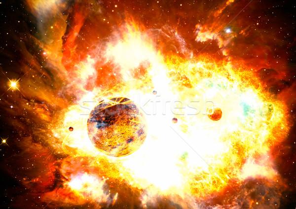 Nuclear explosão galáxia espaço nebulosa arte Foto stock © Fesus